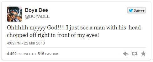Tweet d'une passante