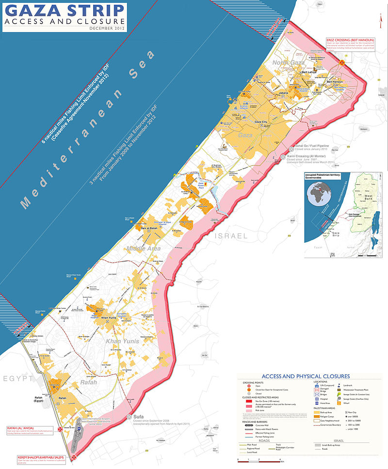 Gaza Strip map 12_2012