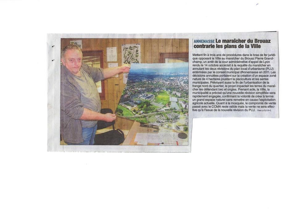 L'article paru dans le Dauphiné Libéré d'Annemasse ce 31 décembre 2014.... Sans commentaire