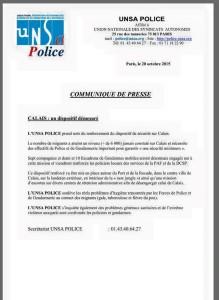 Calais tract UNSA Police
