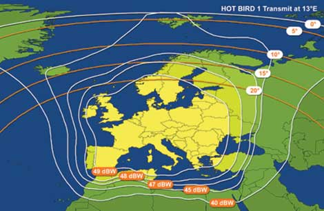 Satellite Hot bird 1 couverture de l'Europe.