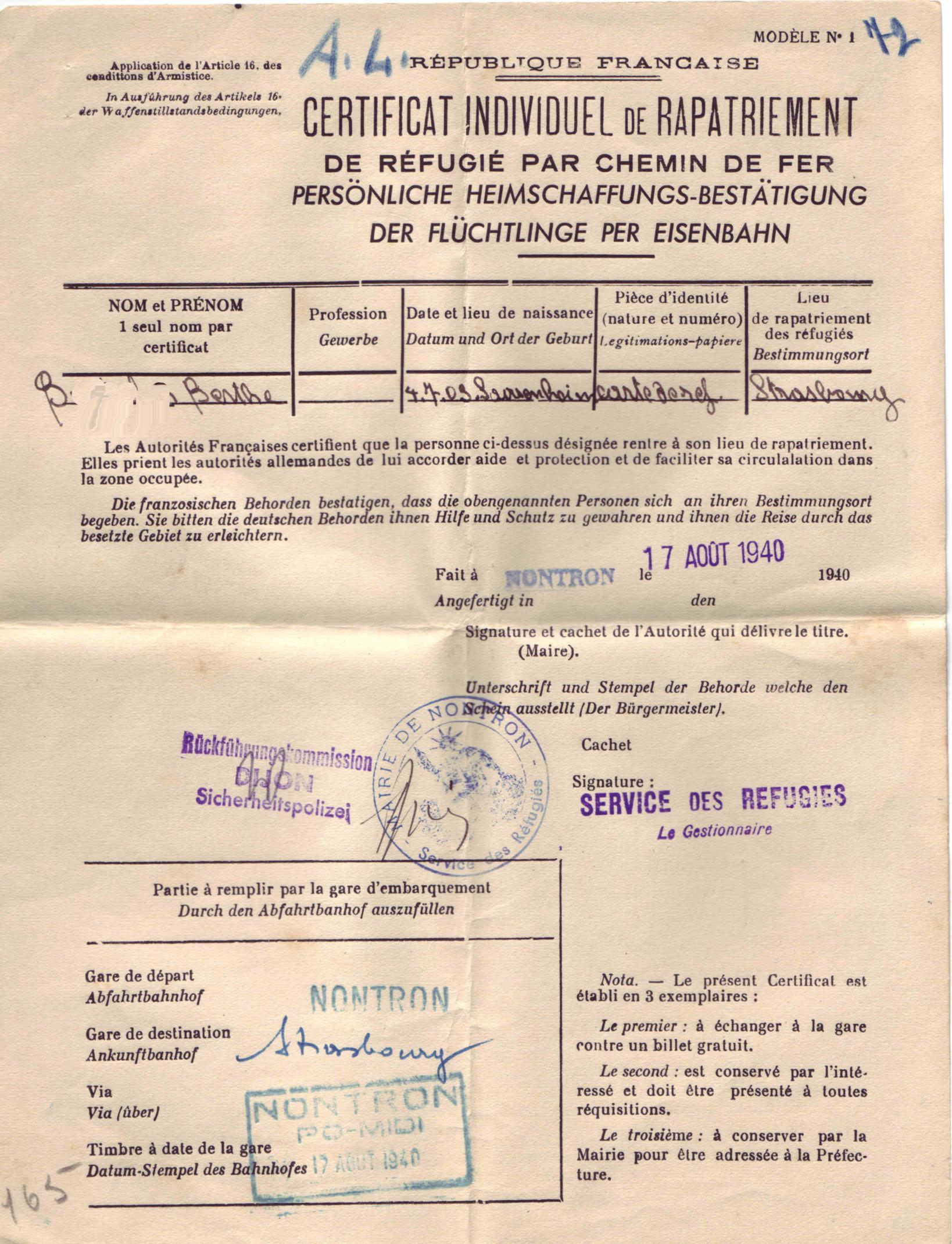 certificatrapatriement1940
