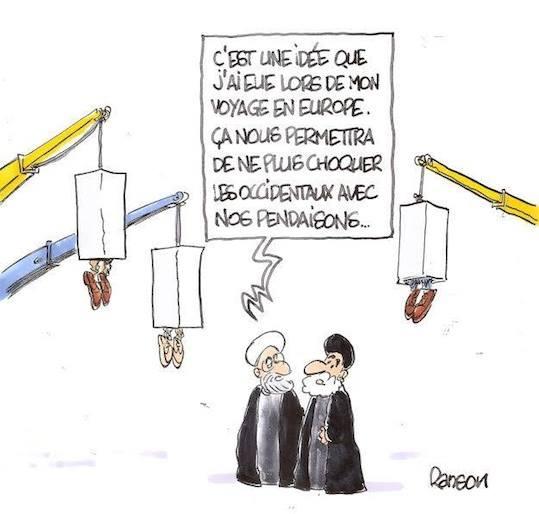 Iran et statues du Capitole masquées