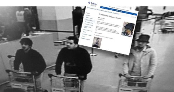 """A picture released on March 22, 2016 by the belgian federal police on demand of the Federal prosecutor shows a screengrab of the airport CCTV camera showing suspects of this morning's attacks at Brussels Airport, in Zaventem. Two explosions in the departure hall of Brussels Airport this morning took the lives of 14 people, 81 got injured. Government sources speak of a terrorist attack. The terrorist threat level has been heightened to four across the country. / AFP / BELGIAN FEDERAL POLICE / - / RESTRICTED TO EDITORIAL USE - MANDATORY CREDIT """"AFP PHOTO / BELGIAN FEDERAL POLICE"""" - NO MARKETING NO ADVERTISING CAMPAIGNS - DISTRIBUTED AS A SERVICE TO CLIENTS"""