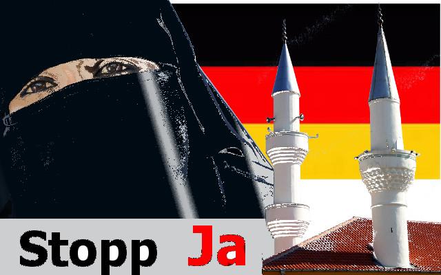 AfD Stopp Minarett und Schleier