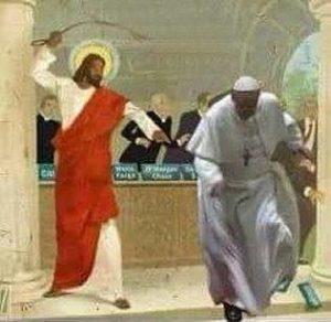 Jesus fouettant le pape