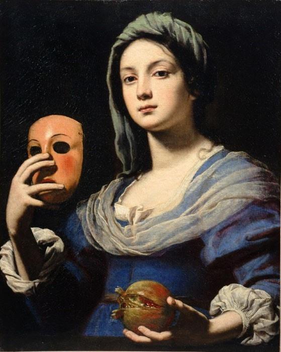 Toile de Lippi, 1640, le masque évoque la dissimulation et le mensonge. La grenade est le symbole de l'unité mais aussi de sa déflagration de celle-ci en de multiples grains incontrôlables si elle est entamée sans précautions...