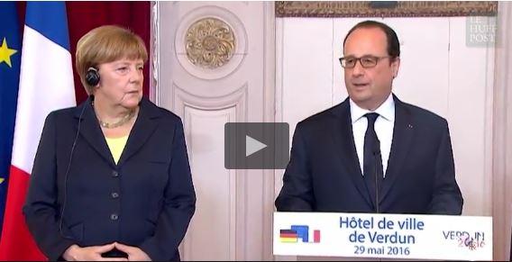 Hollande et Merkel à la mairie de Berlin... pardon de Verdun !