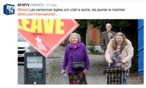 """Le tweet scandaleux de BFM ridiculisant les """"vieux"""" qui ont voté pour la sortie de l'UE"""