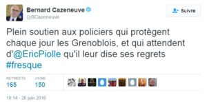 Tweet de soutien de Bernard Cazeneuve
