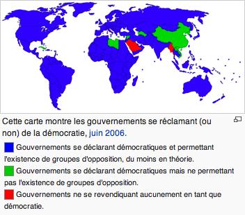 En comparant cette carte des démocraties dans le monde avec la méthode visant à imposer le CETA, la France devrait être en vert, comme la Libye ou la Chine.