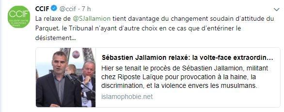 Réaction du CCIF suite à la relaxe de Sébastien Jallamion