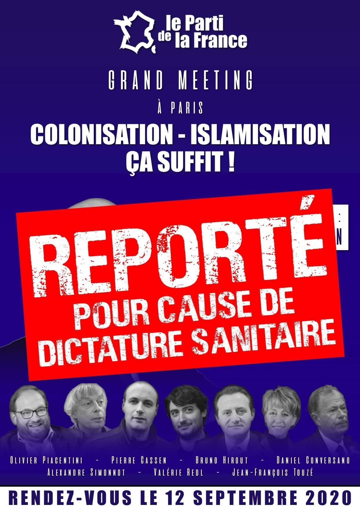 Dictature sanitaire : le meeting du Parti de la France annulé !