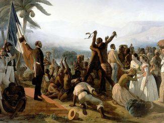Abolition de l'esclavage dans les colonies françaises, le 27 avril 1848. Tableau du peintre français François-Auguste Biard (1799-1882), réalisé en 1849. Huile sur toile de grande taille (260×392 cm), musée national du château de Versailles.