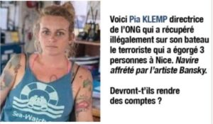Nice : c'est Pia Klemp, directrice d'ONG, qui nous a importé cette ordure !
