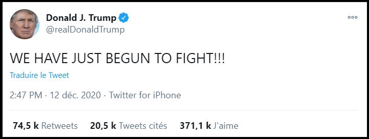 Trump: Nous avons juste commencé à nous battre!