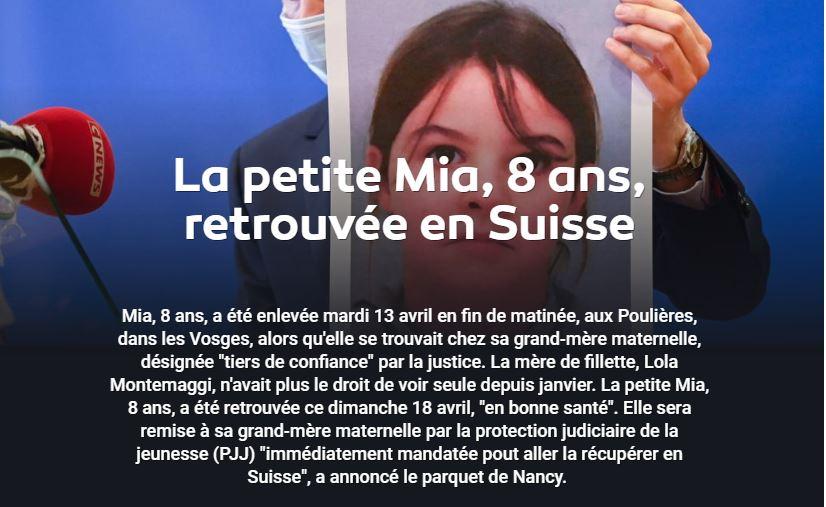 Mia, 8 ans, kidnappée par sa mère, était-elle vraiment en danger ?