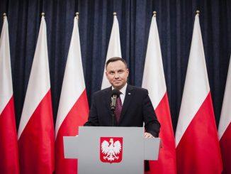 Le président polonais, Andrzej Duda, lors d'une conférence de presse le 20 décembre 2017, à Varsovie. PHOTO / GRZEGOR BANASZAK / CROWDSPARK